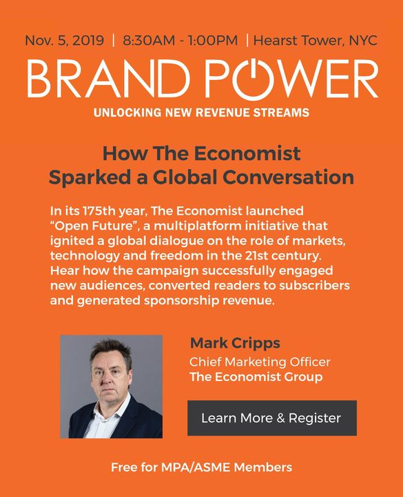 Hear from Mark Cripps, CMO of The Economist Group, at Brand Power on 11/5. Register today! https://bit.ly/2kTGiuu