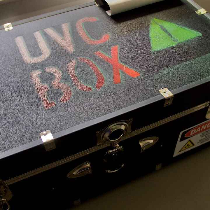 UVC Sanitizing box made by Bonfire member Helyx Chase Scearce Horwitz! Very cool device that uses UV light to kill virus...
