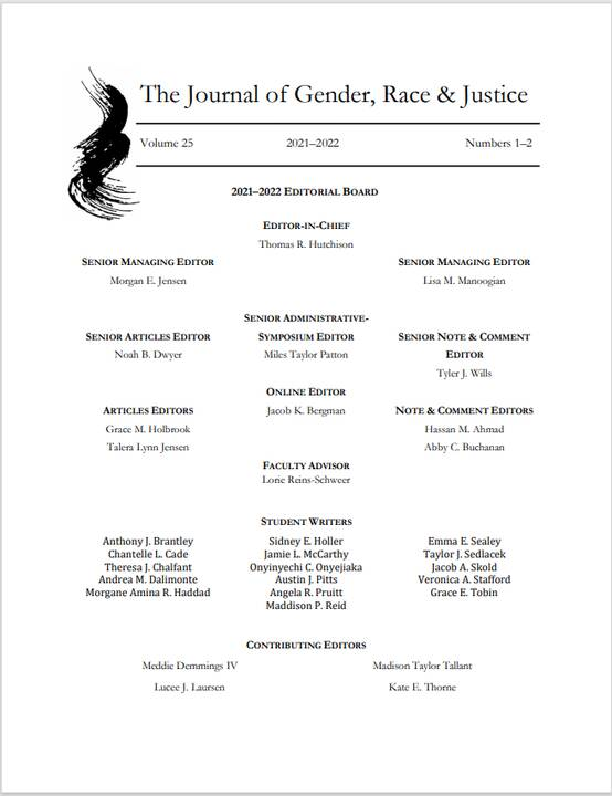 Would you please assist the Volume 25 Editorial Board in welcoming our talented incoming student-writers to JGRJ! We are...