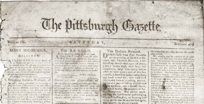 """FUN MEDIA FACT:  On this day in 1786, """"The Pittsburgh Gazette"""" reportedly became the first newspaper to be published wes..."""