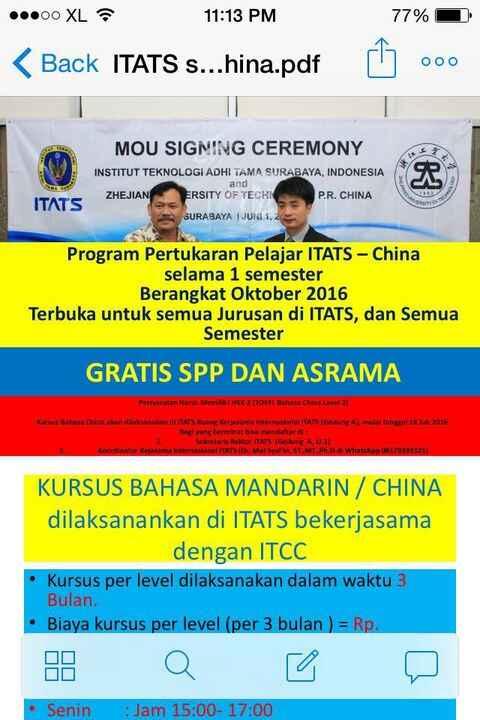 Halo rekan ITATS.Berminat exchange ke Cina?Yuk daftar.Gratis SPP dan Asrama.(Admin/Zan)