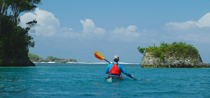 Ken Whiting paddling out of the Blue Lagoon on another beautiful day in Jamaica!Aqua-Bound NRS TRAK Kayaks GoPaddle.ie V...