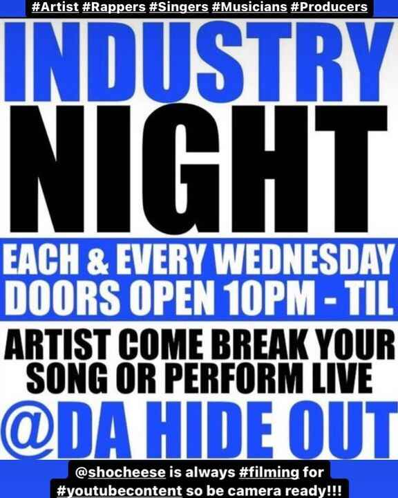 #tonight - #industrynight #artist #musician #singer #rapper #producer #writer come out #tonight and #showcase your #crea...