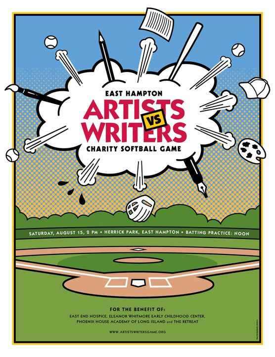 We designed this poster and invitation for the 67th Annual Artists & Writers Charity Softball Game, which provides suppo...
