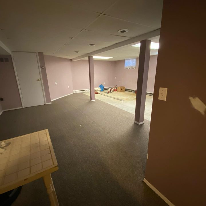 Before and After Basement Renovation#sheetrock#electric#plumbing#flooring#painting
