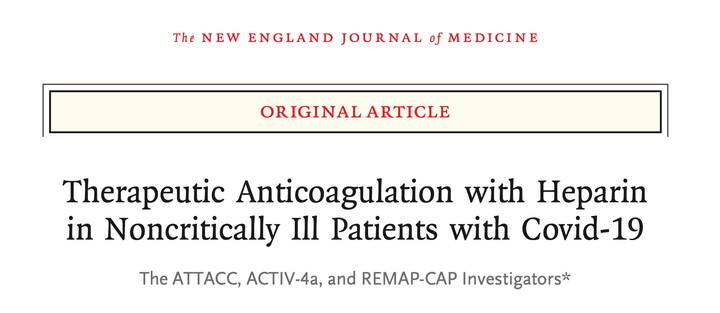 🔴 Just published in NEJM:In non-critically ill patients with #COVID19, an initial strategy of therapeutic-dose anticoagu...
