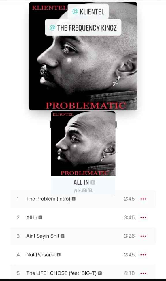 #newmusic On all streaming PlatformsKLIENTEL   Problematic●Produced by :  The Frequency Kingz  ●#NewRelease #NewMusicAle...