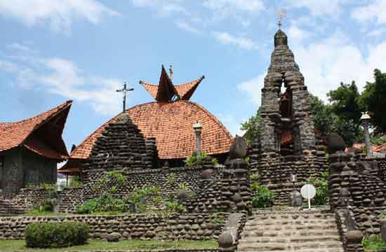 Puhsarang Church, a truly architectural beauty built from stones with the famous Maria LourdesCave and the holy water. H...
