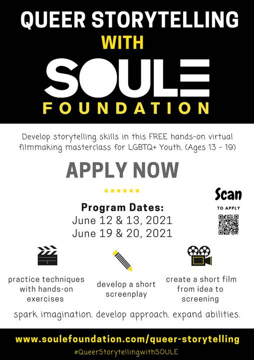 The SOULE Foundation is hosting The Q***r Storytelling, a virtual masterclass for LGBTQ+ Youth of Color ( Ages 13-19). A...