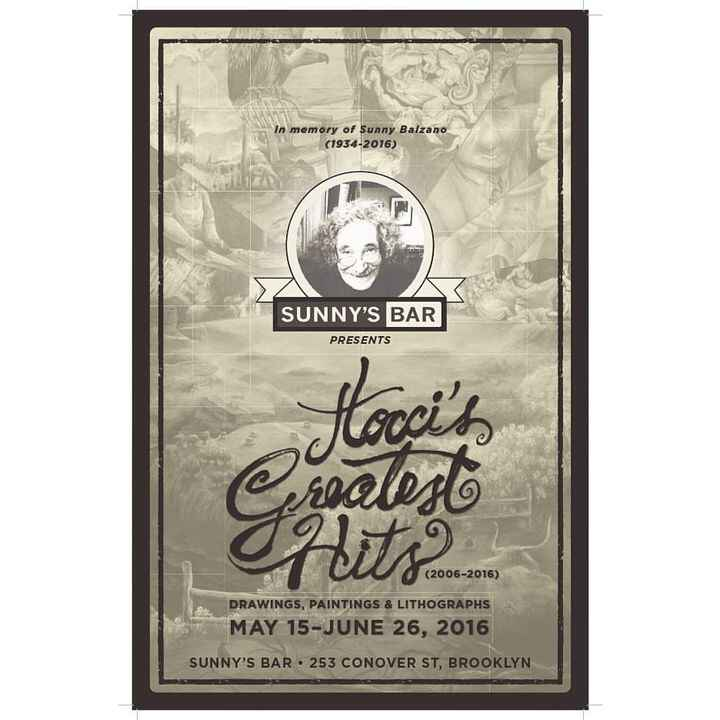 Poster and invitation design for artist Jeff Tocci's solo exhibition, Tocci's Greatest Hits at Sunny's Bar, 2016. @jtocc...
