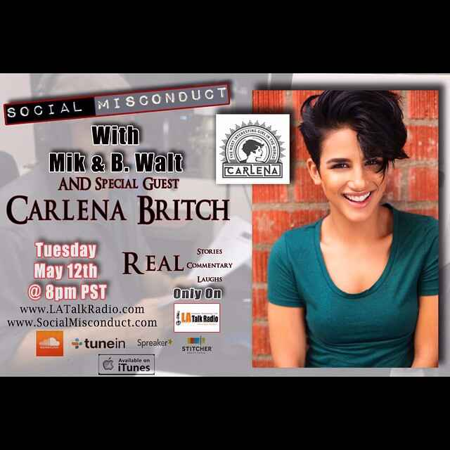 @CarlenaBritch will be #LIVE tonight on @SocialMisconduct at 8pm PST! Make sure you tune in to #LATalkRadio.com on the #...