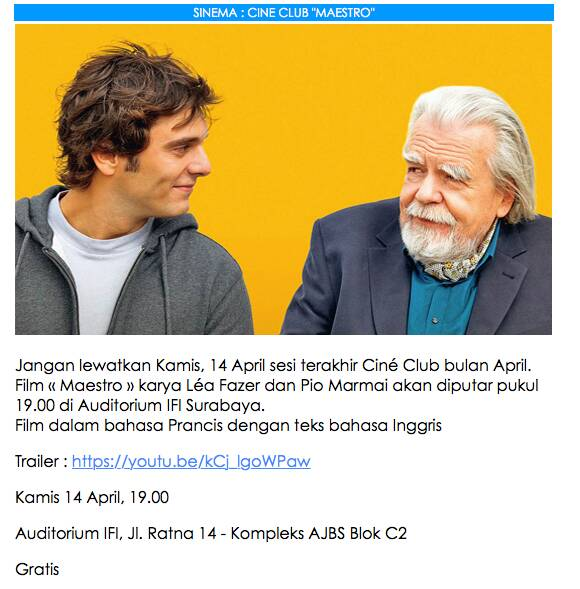 Looking for something to do in Surabaya on Thu, Apr 13th? Check out French movie MAESTRO at IFI Surabaya (French Institu...