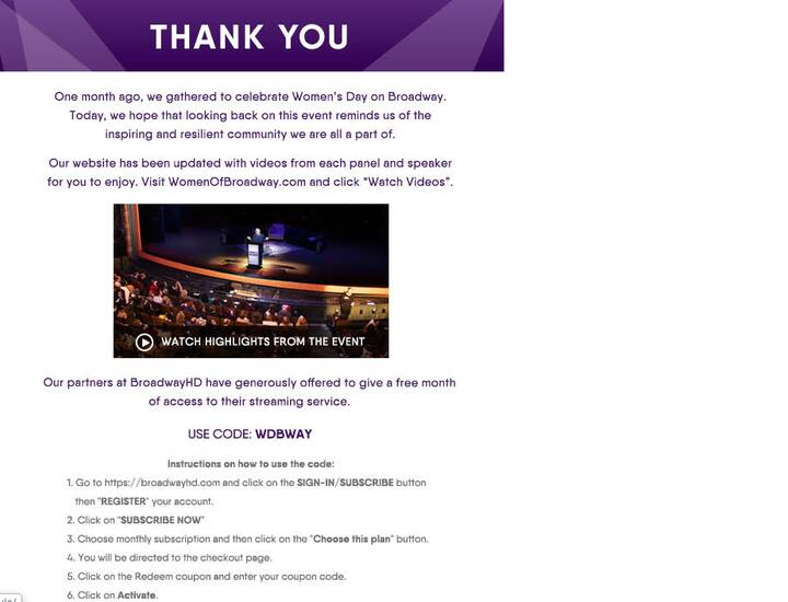 Disney Theatrical sponsored Women's Day On Broadway a month ago right before we all went indoors.  Hope this makes you s...