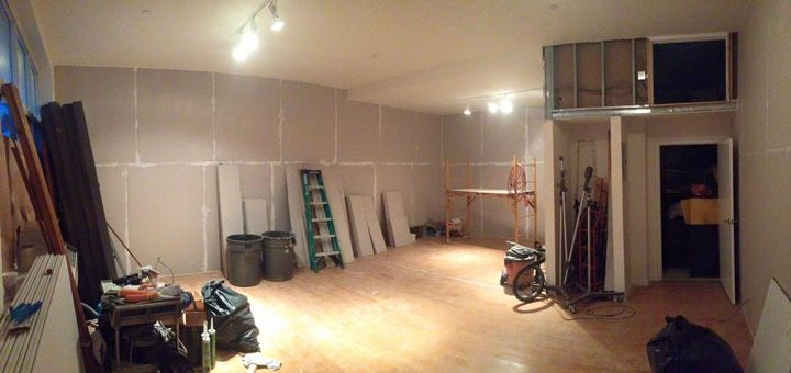 """Insulation, 3 layers of 5/8"""" Sheetrock and Green Glue combo done. Tie lines to tile bathroom are run. Now to the floor f..."""