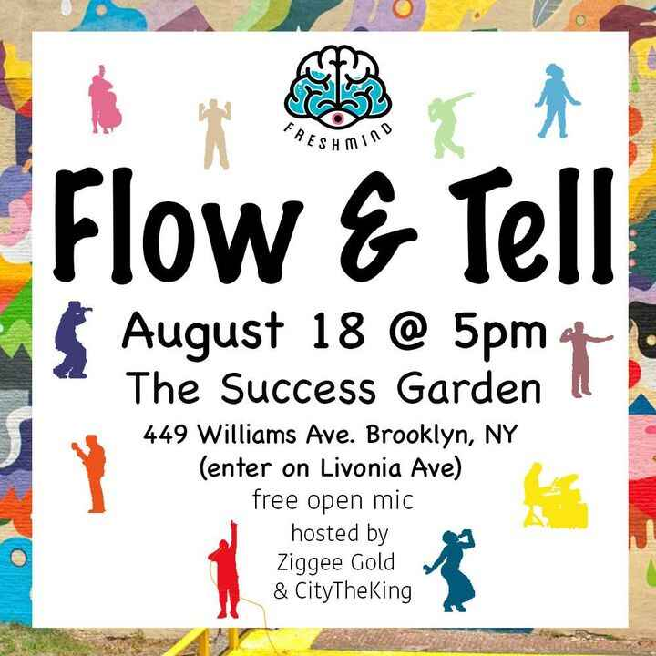 Flow and Tell is this Thursday at a new location! Still talented and full of good vibesas usual