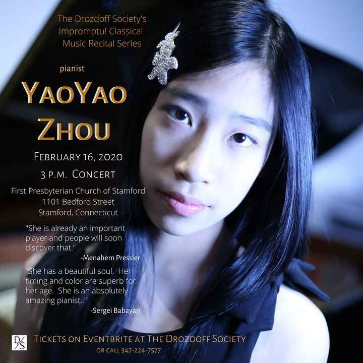 In two weeks.  Only one performance by the remarkable young pianist YAOYAO ZHOU.