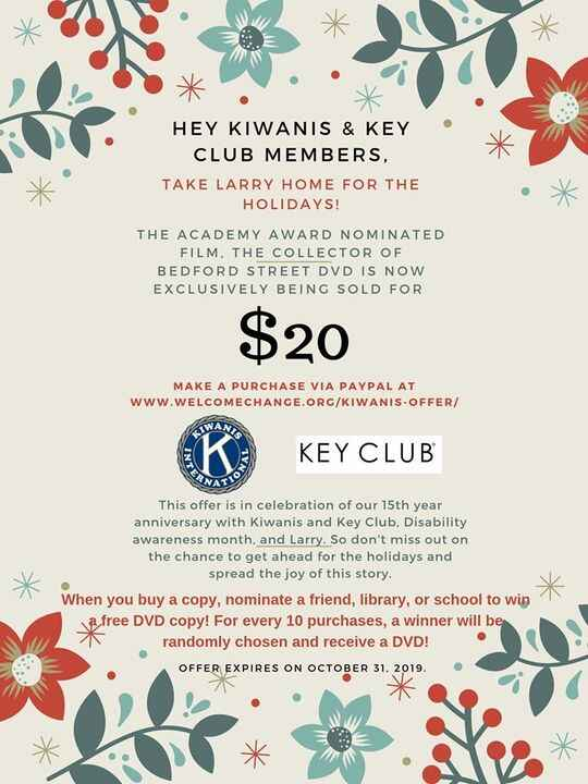 LAST CHANCE to take Larry home for the Holidays! Kiwanis International & Key Club members, redeem your offer today!