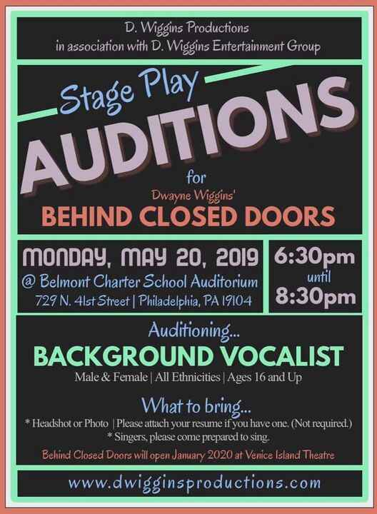 BACKGROUND VOCALIST!!! It is with great excitement that we announce on Monday, May 20th we will be holding auditions for...
