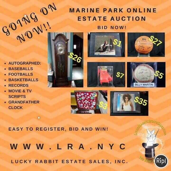 The Marine Park, Brooklyn auction is heating up! This is your chance to get rare autographed baseball's, football, music...
