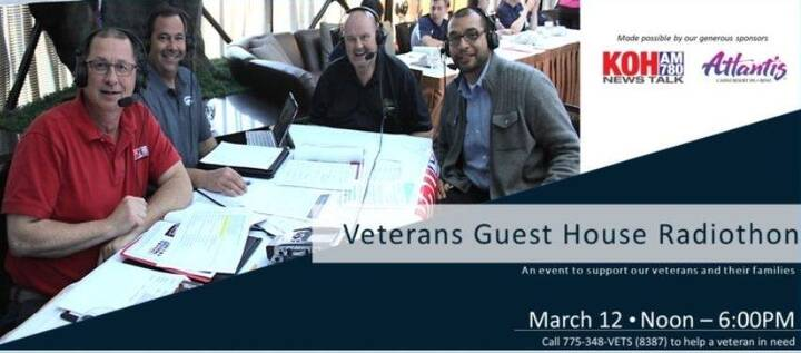 Our Veterans Guest House 18th Annual Radiothon airs live from 12-6 pm today! Call 775-348-VETS(8387) to contribute or bi...