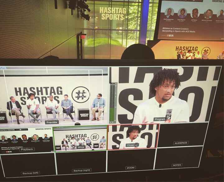 A view from our recent video coverage of Athletes as Content Creators at #HS19 with @eazyengram of the @nygiants, Scott ...