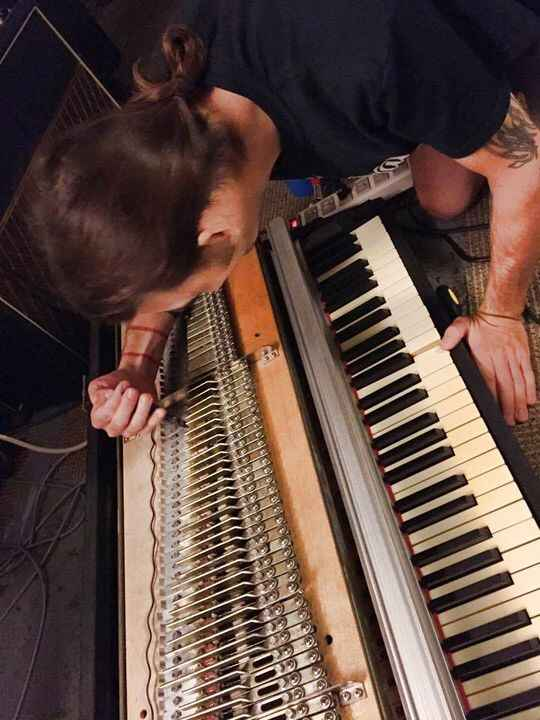 True friend of the studio - Harlan doing some much needed repair work on our Rhodes. Fully tined, tuned, and tweaked! So...