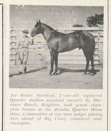 JOE BAILEY STEELDUST b. H, QUARTER HORSE, 1942PAL JOEY  x MARE BY DAN #0002144Breeder: J. H. Nail, Albany, TX.Owner: T. ...